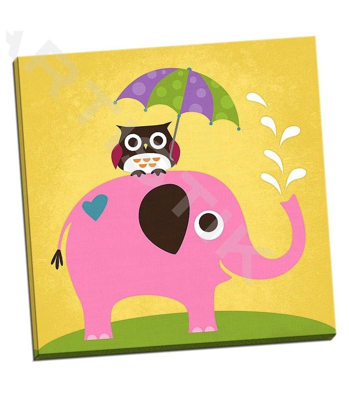 Elephant and Owl with Umbrella - Lee, Nancy