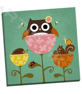 Owl Squirrel and Hedgehog in Flowers - Lee, Nancy