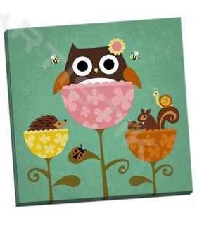Owl Squirrel and Hedgehog in Flowers - Lee, Nancy